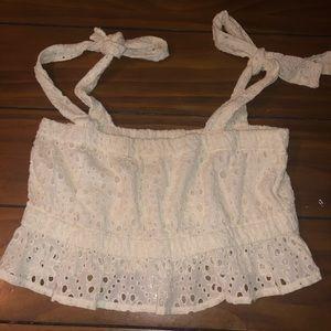 Revolve Winston white crochet tie straps crop top